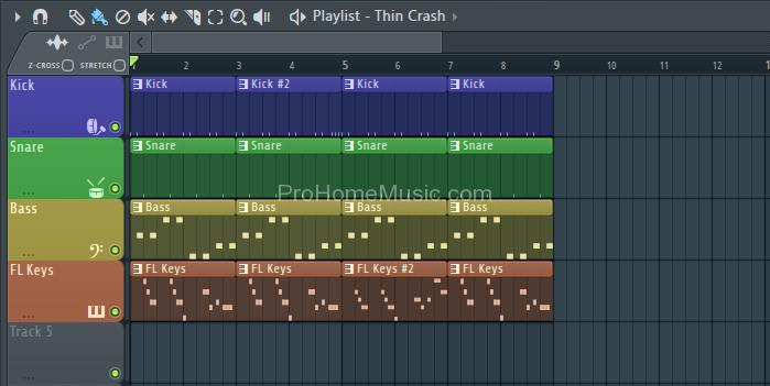 8 Bar long playlist arrangement FL Studio 12