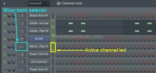 FL Studio mixer track selection input tab