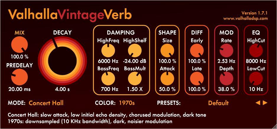 Valhalla vintage verb top best reverb vst au plugin