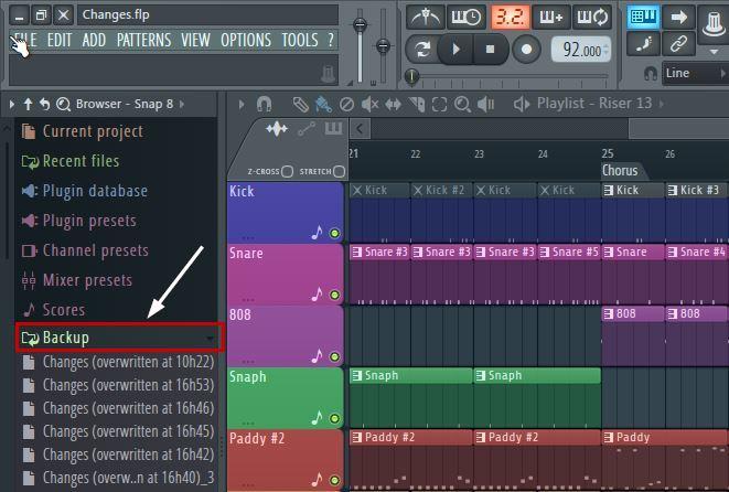 Recover lost project in FL Studio\Recover lost corrupt project in FL Studio
