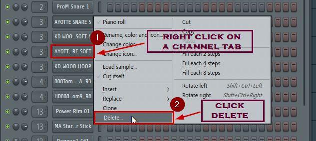 how to delete mixer track in fl studio 20 channel rack