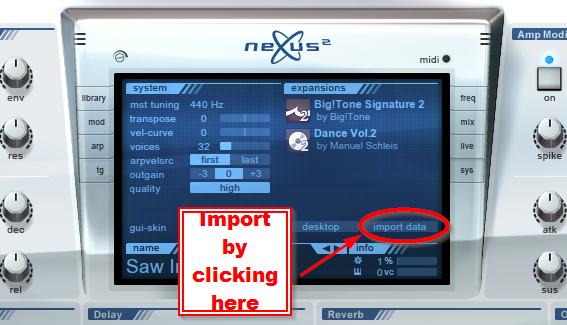 where to put nxp nfx file import nexus preset epansion pack